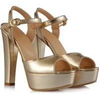 Sothe Ba-1027 Altın Deri Platform Topuklu Ayakkabı