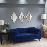 NEOstill -3'lü Dekoratif Duvar Salon Ofis Baklava Desenli Ayna