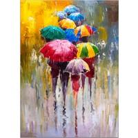 Diji Kanvas Renkli Şemsiyeler Yağlı Boya Kanvas Tablo