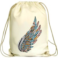 Anadolu Promosyon Kuş Kanadı Desenli Ham Bez Büzgülü Çanta