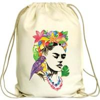 Anadolu Promosyon Frida Kahlo Desenli Ham Bez Büzgülü Çanta