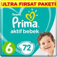 Prima Bebek Bezi Aktif Bebek 6 Beden 72 Adet Ekstra Large Ultra Fırsat Paketi