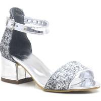 Sarıkaya Gümüş Simli Kalın Topuklu Tek Bant Kız Çocuk Abiye Ayakkabı