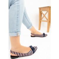 Fox Shoes PudraLacivert Kadın Babet F726029104