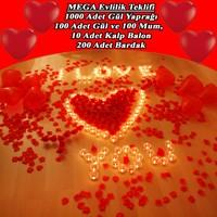 Chavin Gül Yaprağı Kalp Balon Mum Aşk Kutusu