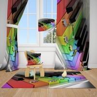 Renkli Piyano Ve Melodi Nesneler Çocuk Odası Fon Perde 2 Kanat