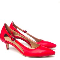 Sothe ELF-1736 Kırmızı Deri Bayan Kısa Topuklu Ayakkabı