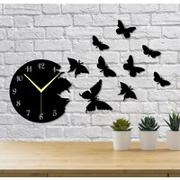 Homecept Uçan Kelebekler 10 Parça Duvar Saati