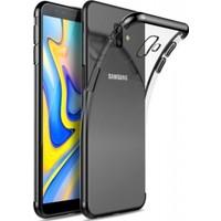 Jopus Samsung Galaxy J6 Plus Dört Köşe Renkli Şeffaf Lazer Silikon - Siyah + Cam Ekran Koruyucu