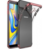 Jopus Samsung Galaxy J6 Plus Dört Köşe Renkli Şeffaf Lazer Silikon - Rose + Cam Ekran Koruyucu