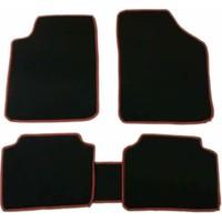 Otokuzey Halı Oto Paspas Siyah Halı Kırmızı Kenar Eko 5 Parça