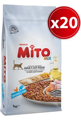 Mito Mix Adult Cat Tavuklu ve Balıklı Renkli Taneli Yetişkin Kedi Maması - 20 kg