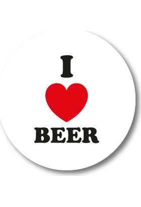 Cici I Love Beer Sticker Etiket 3 x 3 cm 20li