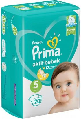 Prima Bebek Bezi Aktif Bebek 5 Beden Junior İkiz Paket 20 Adet