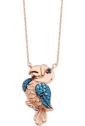 Magümüş Özel Tasarım Firuze Taş Mavi Papağan Gümüş Kolye