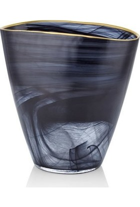 Cemile Siyah Altın Rim Vazo 19 cm