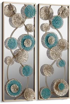 Cemile Çiçekli Aynalı 2 Li Duvar Panosu