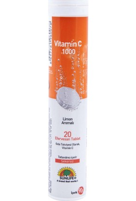 Sunlife Vitamin C 1000 mg 20 Efervesan Tablet