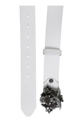Cipo&Baxx CG146 Kılıçlı Kurukafa Metal Tokalı Deri Beyaz Kemer