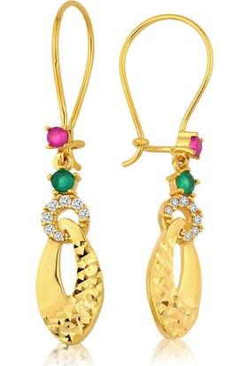 Label Jewelry Gökkuşağı 22 Ayar Altın Sarkaç Küpe