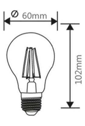 Braytron Led Rustik Filament Ampül 6W E27