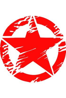 New Jargon Army Asker Yırtık Efektli Yıldız Sticker Yapıştırma Kırmızı