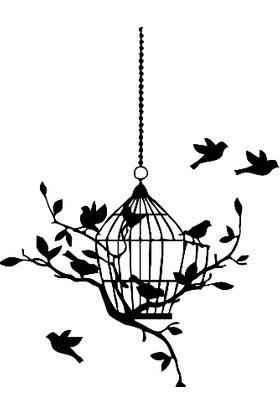 New Jargon Kafes ve Kafesin Yanında Kuşlar Sticker Yapıştırma Siyah