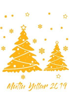 New Jargon Yılbaşı Yeni Yıl Ağaç Ve Kar Taneleri Süslemeleri Sarı