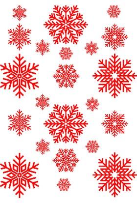 New Jargon Yılbaşı Süslemeleri Kar Tanesi 22 Adet Cam Stickeri Kırmızı