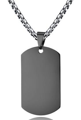 Chavin 60 Cm. 3Mm. Siyah Çelik Dogtag Asker Künyesi Kolye Ds68Sy