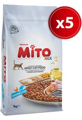 Mito Mix Adult Cat Tavuklu Ve Balıklı Renkli Taneli Yetişkin Kedi Maması 1 Kg 5'li
