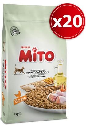 Mito Adult Cat Tavuklu Yetişkin Kedi Maması 1 Kg 20'li