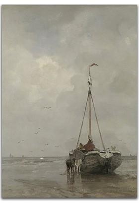 Diji Kanvas Balıkçı Teknesi Yağlı Boya Kanvas Tablo Ünlü Tablolar