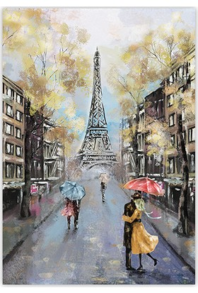 Diji Kanvas Romantik Sonbahar Sokakları Yağlı Boya Kanvas Tablo
