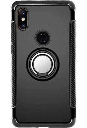 Microcase Xiaomi Mi Mix 2S Yüzük Standlı Armor Silikon Kılıf - Siyah