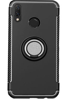 Microcase Huawei Nova 3i - P Smart Plus Yüzük Standlı Armor Silikon Kılıf - Siyah