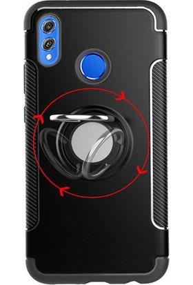 Microcase Huawei Honor 8X Yüzük Standlı Armor Silikon Kılıf - Siyah
