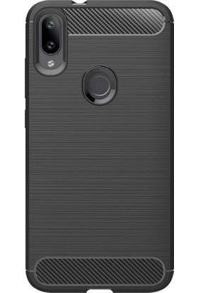 Microcase Xiaomi Mi Play Brushed Carbon Fiber Silikon TPU Kılıf - Siyah