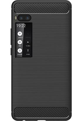 Microcase Meizu Pro 7 Brushed Carbon Fiber Silikon TPU Kılıf - Siyah