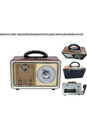 Meier Smart Sepet 110BT USB/SD/MP3/Bluetooth Şarjlı Nostaljik Radyo