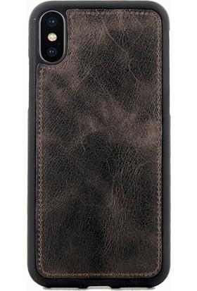Coverzone iPhone X Kılıf Magnetik Özellikli Deri Koyu Kahve + Magnetik Araç İçi Tutucu