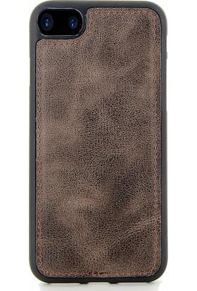 Coverzone iPhone 8 Plus Kılıf Magnetik Özellikli Deri Koyu Kahve + Magnetik Araç İçi Tutucu + Temperli Ekran Koruma