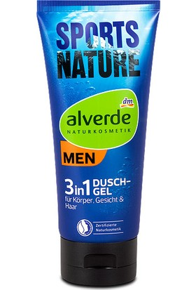 Alverde Sports Nature 3in1 Erkek Saç , Vücut , Yüz Yıkama Jeli 200 ML