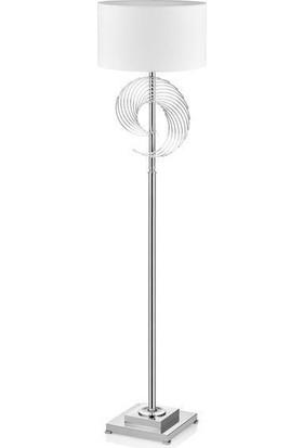 Cemile Krom Metal Halka Beyaz Şapkalı Lambader 158 cm