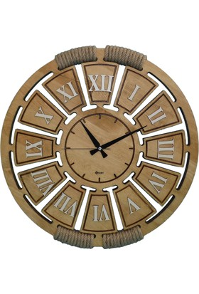 Siah Gerçek Çam Duvar Saati 57 cm