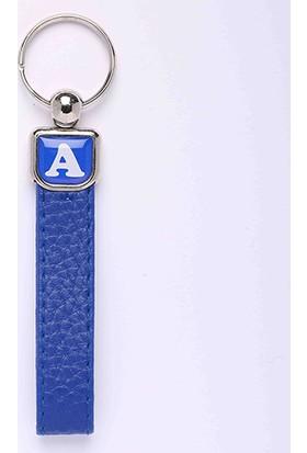 Yeni Hayat Shoping Yeni126 Deri Saplı Harf Anahtarlık Mavi