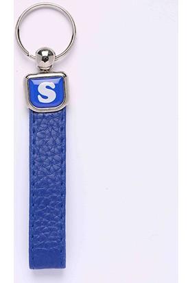 Yeni Hayat Shoping Yeni127 Deri Saplı Harf Anahtarlık Mavi