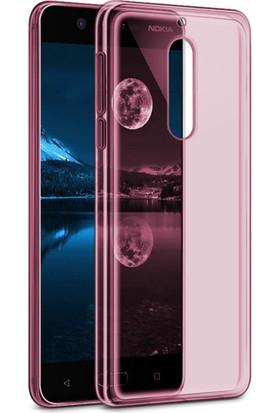Caseup Nokia 5 Kılıf İnce Şeffaf Silikon Pembe + Nano Cam