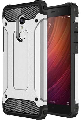 Caseup Xiaomi Redmi Note 4 Kılıf Tank Gümüş + Nano Cam