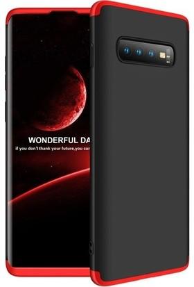 Teleplus Samsung Galaxy S10 Plus 360 Full Koruma Sert Kapak Kılıf Siyah - Kırmızı